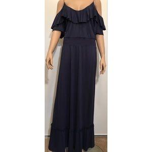 Michael Kors Cold Shoulder Navy Maxi Dress Sz. 1X